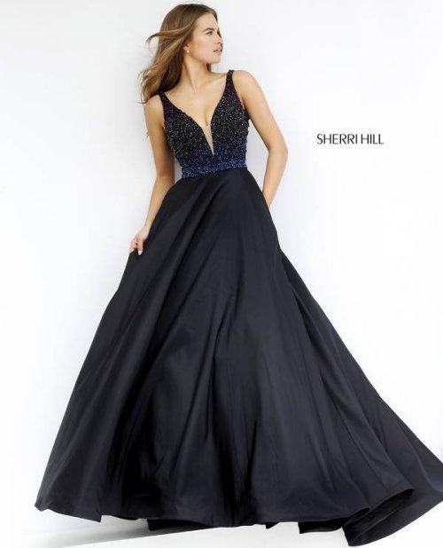 long black v neck Sherri Hill prom dress 2016 -32336