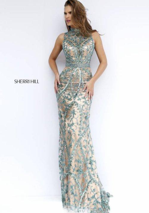 nude-emerald green beaded Sherri Hill prom dress 2016 -1976