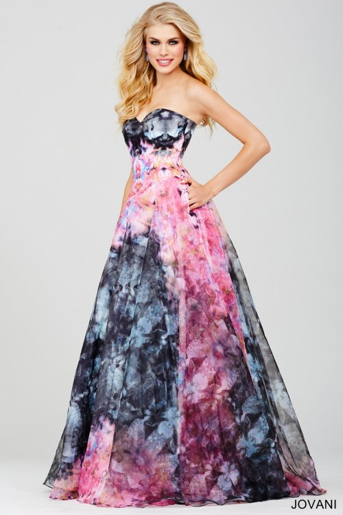 strapless pink blue print prom dress Jovani 2016-33499