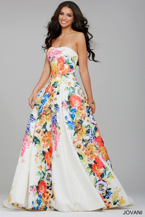 white floral ball gown jovani 2015 - 22713