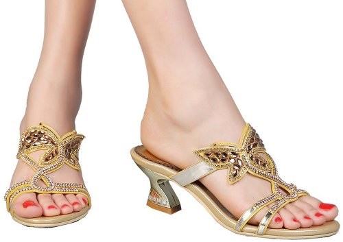 unique gold butterfly low heel prom sandals Abby T024