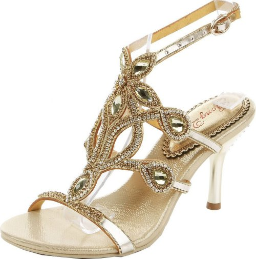 unique gold crystal low heel prom shoes Abby