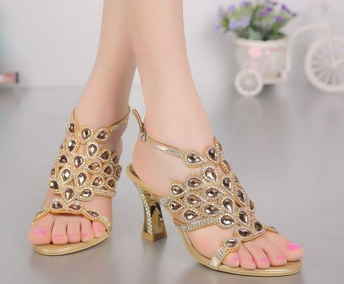 unique gold peacock crystal low heel prom sandals CRC
