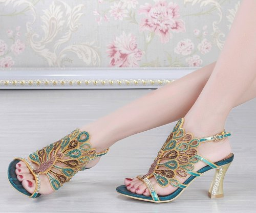 unique gree peacock low heel prom shoes Honeystore