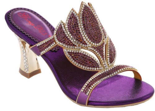 unique purple floral crystal low heel prom sandals Abby