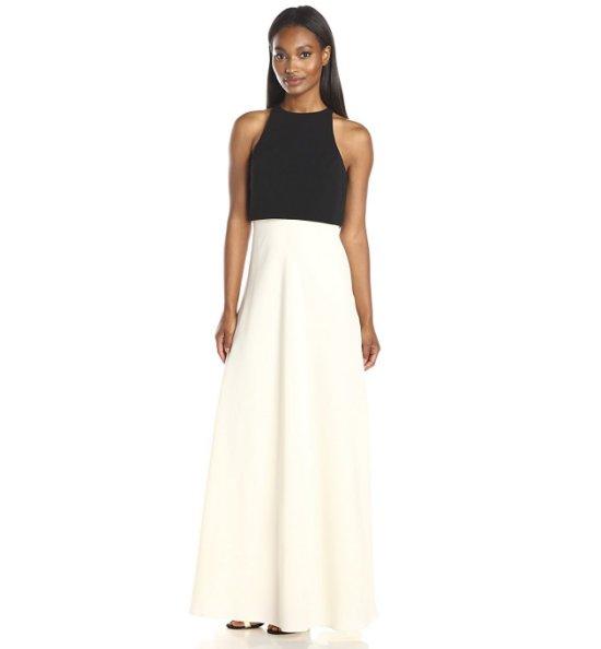 black and white popover prom dress Jill Jill Stuart