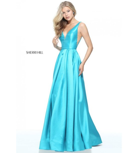 elegant blue prom ball gown Sherri Hill 51120