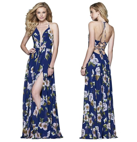 floral blue prom dress Faviana 7946