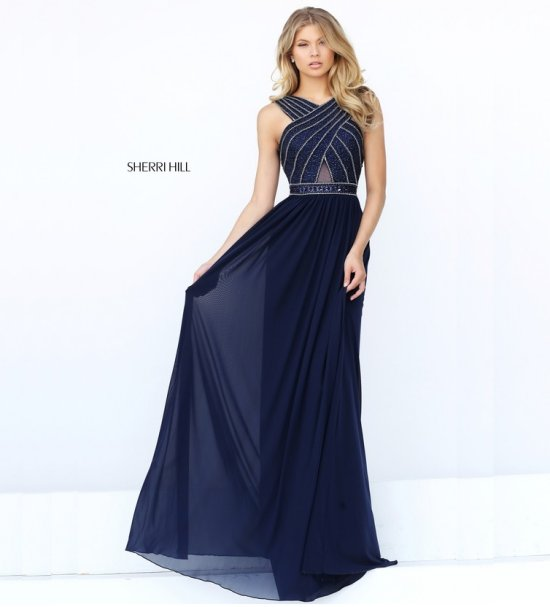 long blue sequin top prom dress by Sherri Hill 50759