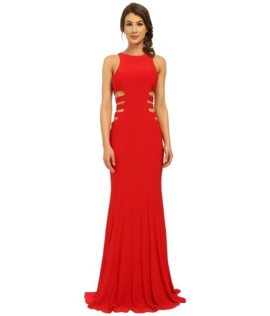 long red prom dress by faviana with side cut outs evening dress