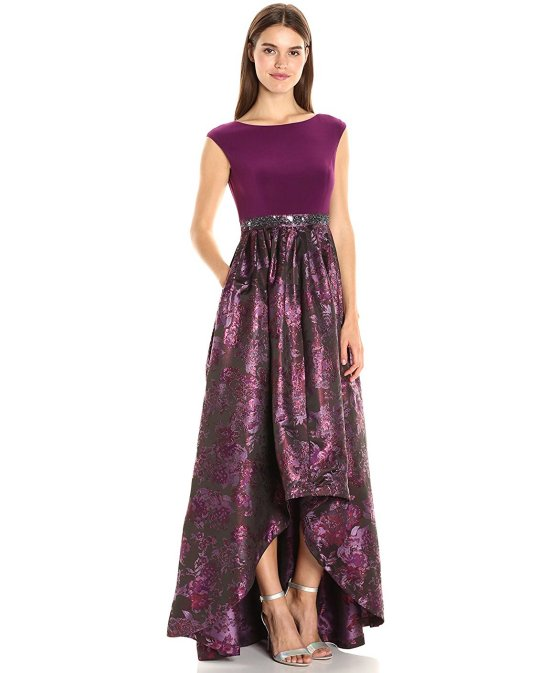purple mettalic prom dress Adrianna Papell