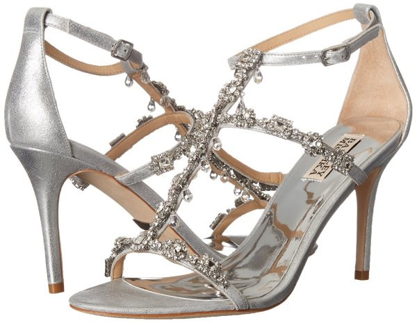 Badgley Mischka silver prom shoes with crystals