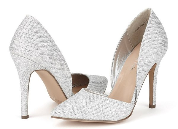 DREAM PAIRS classic silver stilleto prom shoes