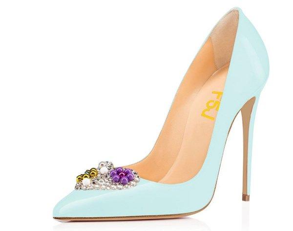 FSJ elegant chic sky blue prom high heels