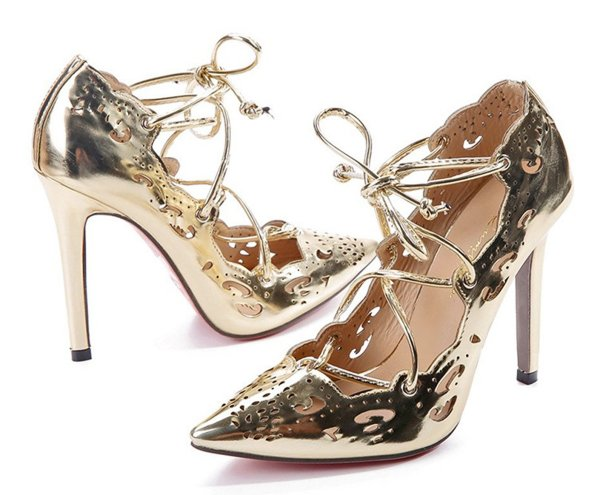 Hanxue sexy gold prom shoes with cut outs