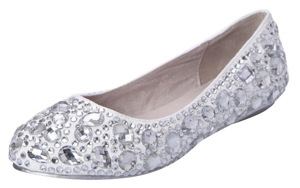 Honeystore silver crystal ballet flats for prom