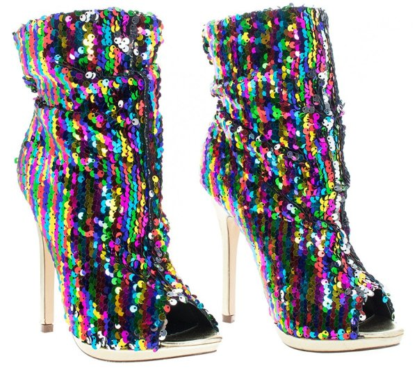 Liliana rainbow sequins peep toe prom boots