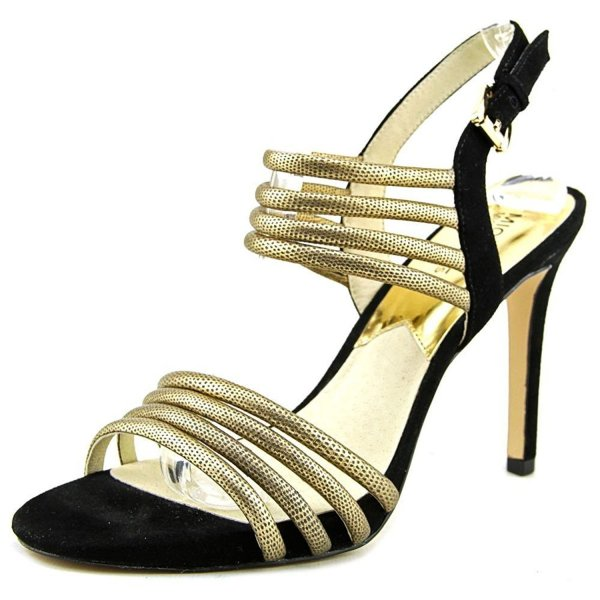 Michael Kors Cameron black gold strappy prom sandal