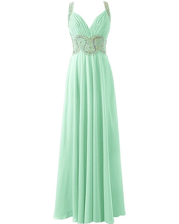 long mint green beaded parisian prom dress-Tideclothes