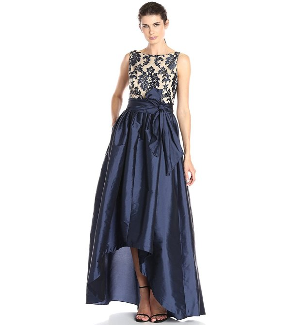 navy nude high low parisian prom dress-Adrianna Papell