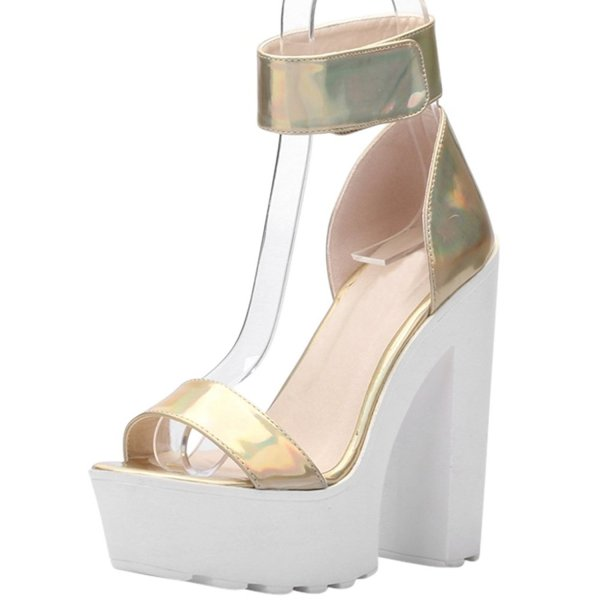 ochenta chunky prom shoes gold straps