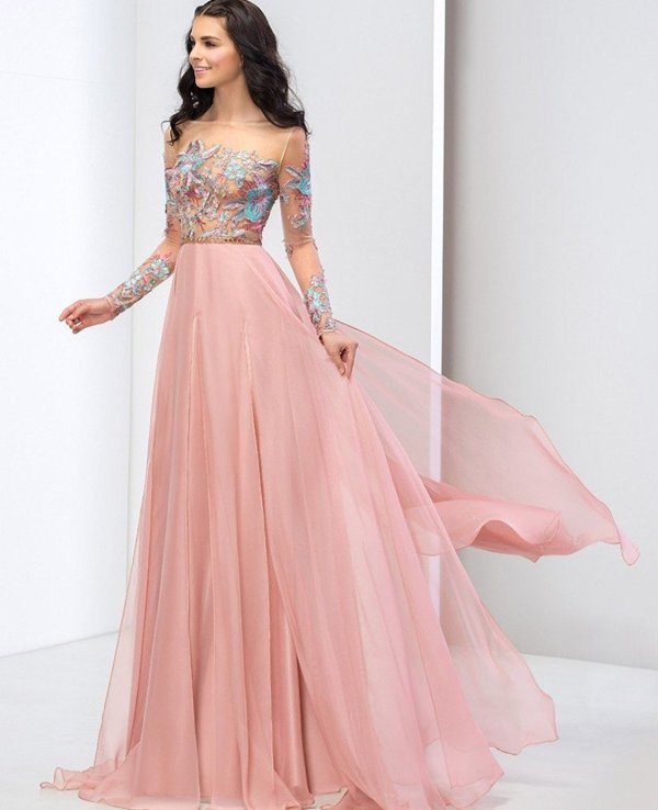 romantic pink applique top parisian prom dress-Clocolor