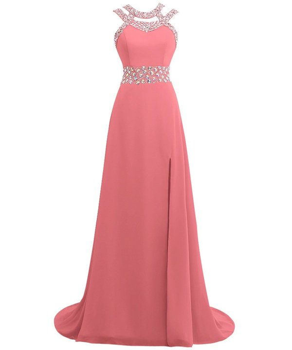 stylish coral beaded top parisian prom dress-Queenmore
