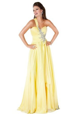 Yellow One Shoulder Prom Dress Pear Shape